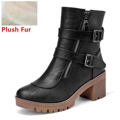 Outlet Appeal black fur / 6 Faux Leather Winter Metal Buckle Thick High Heel Zipper Ankle Boots