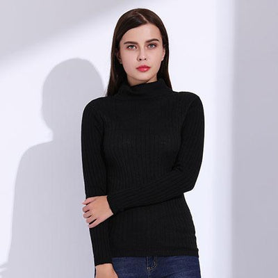 Outlet Appeal Black / L Turtleneck Pullover Women Knitted Sweaters Thin Pullover Long Sleeve Knitwear GAREMAY