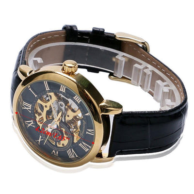 Outlet Appeal Black Luxury Mens Steampunk Skeleton Stainless Steel Automatic Mechanical Wrist Watch