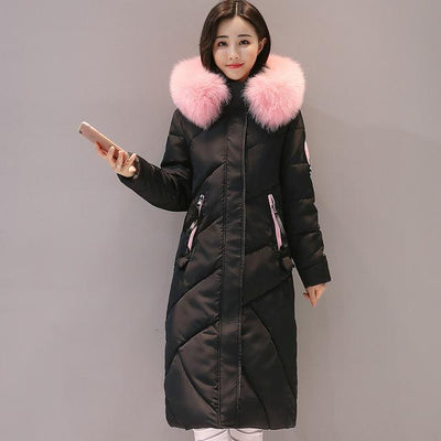 Outlet Appeal BLACK / M Fur Collar Long Winter Coat