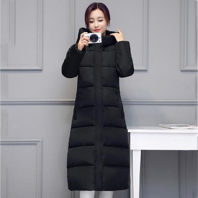 Outlet Appeal BLACK / M High quality 2018 stand collar coat women winter long hooded with a hat warm thicken womens jacket solid padded female parka