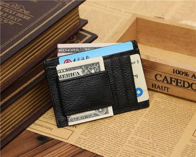 Outlet Appeal Black Man wallet leather with coin pocket  Credit ID Card Holder Slim Purse