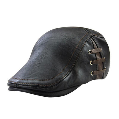 Outlet Appeal Black Men's Flat Cap Vintage PU Leather Newsboy Cap Flat Golf Driving Hunting Hat