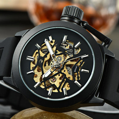 Outlet Appeal Black Mens Watches Top Brand Luxury Hollow Skeleton Automatic Watch Men Watch Clock