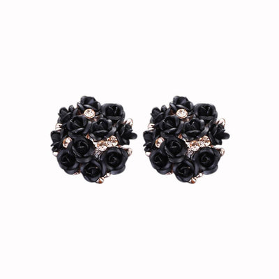 Outlet Appeal Black / one-size Fashion Jewelry Bohemia Flower Rhinestone  Earrings For Women Summer Style A