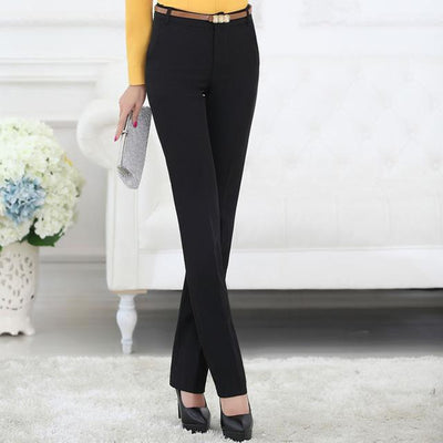 Outlet Appeal Black pants / S Belt Loop Formal Pants for Women Office Lady Style Straight Trousers Business Design S-5XL