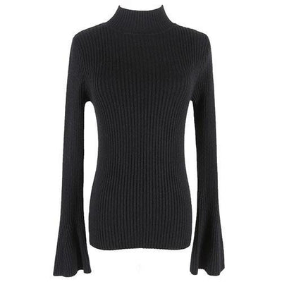 Outlet Appeal Black Pullover Sweater Women Turtleneck Knitted Tops Female Knitwear Flare Sleeve Pull Jersey