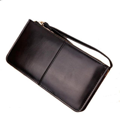 Outlet Appeal Black Retro Long Card Holder Leather Stitching Lady Women Wallet