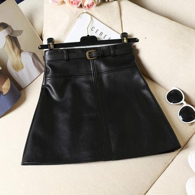 Outlet Appeal Black / S / China Spring Autumn PU Skirt Solid Faux Leather Mini Skirts Elegant Casual Short Slim Skirt with belt