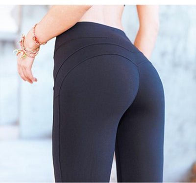 Outlet Appeal Black / S Solid Color Booty Up Butt Lift Sports Leggings Compression Tights