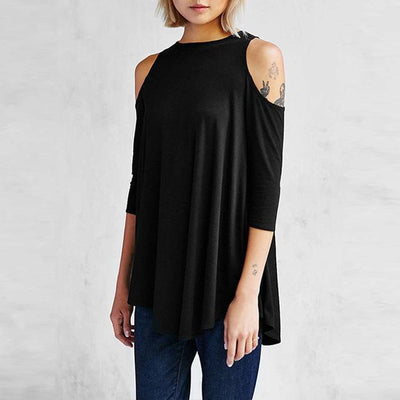 Outlet Appeal Black / S Spring Autumn Half Sleeve Tees T-Shirts Cold Shoulder Tops Women Loose Solid T-Shirts