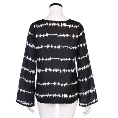 Outlet Appeal Black / S Women Loose Long Sleeve Shirt Stripe Tops Overlapping Chiffon Casual Blouse