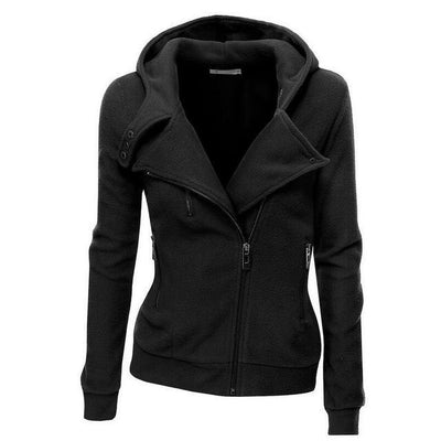 Outlet Appeal black / S Women's Slim Fit Long Sleeve Cotton Zipper Jacket Hoodie