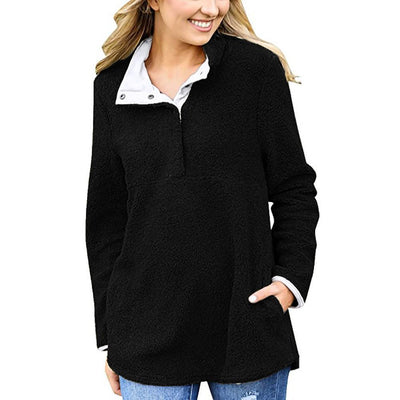 Outlet Appeal Black / S Women Sweater Coat Winter Warm 1/4 Button Outfits Pullover Coat Coat Outwear