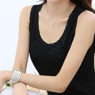 Outlet Appeal black shirt 2 / S Flower Embroidery Lace Tank Top