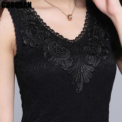 Outlet Appeal black shirt / S Flower Embroidery Lace Tank Top