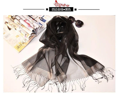 Outlet Appeal Black Stylish Sunscreen Scarves Silk Sun Block Shawl Scarf for Air Condition Room