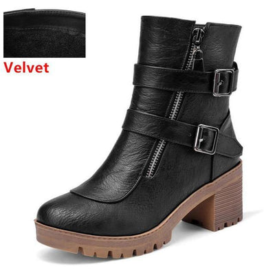 Outlet Appeal black velvet / 6 Faux Leather Winter Metal Buckle Thick High Heel Zipper Ankle Boots