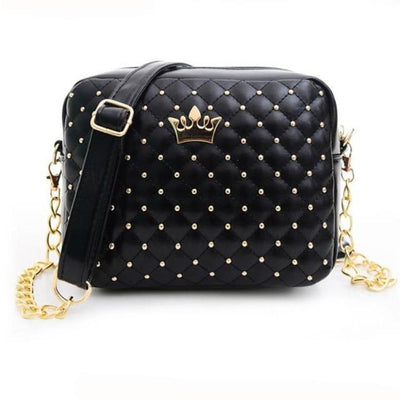 Outlet Appeal Black Women bag Solid Candy Colors Ladies Rivet Chain Leather Crossbody Quilted CrownWomen's Messenger