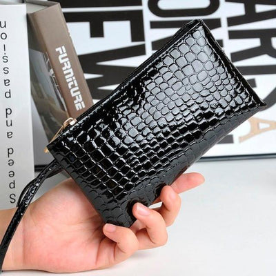 Outlet Appeal Black Women's Faux Crocodile Leather Clutch Coin Purse Wallet
