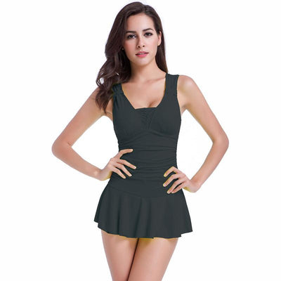 Outlet Appeal Black / XL Sexy One Piece Swimsuit Ruched V Neck for Women