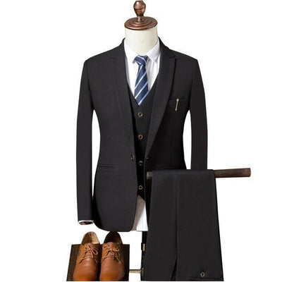 Outlet Appeal Black / XL Suit Men Slim Fit Suits for Men 3 Piece Jacket Pants Vest Suit Mens Formal Wear