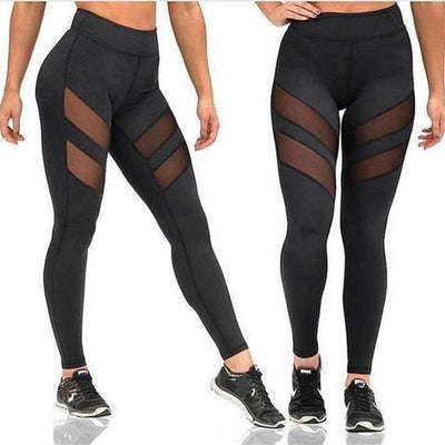 Outlet Appeal Black / XL Women's Yoga Patchwork Mesh Pants Stretch Running Workout Leggings Gym Fitness Tights Two Stripes