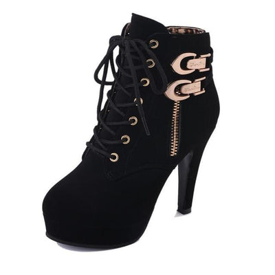 Outlet Appeal Black1 / 4 Faux Leather or Suede Lace Up Double Buckle Platform High Heel Ankle Boots