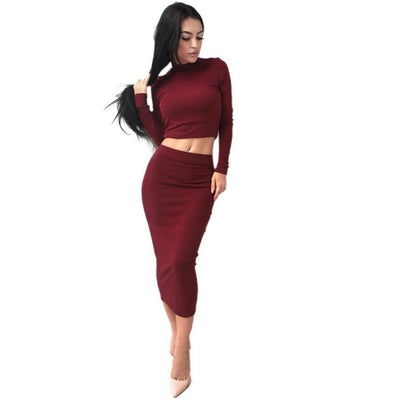 Outlet Appeal Blouse and Skirt Combo Solid Color Long Sleeve High Waist Calf Length Slim Fit