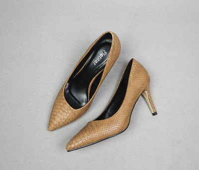 Pointed Toe Genuine Leather Pumps