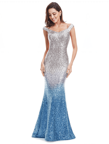 Outlet Appeal Blue / 4 / China Sparkle Sequin Mermaid Long V-Neck Evening Dress Party Gown