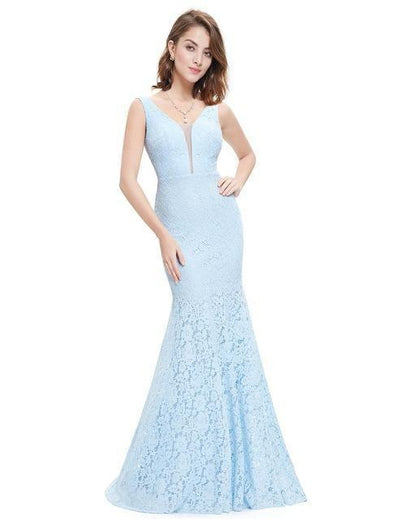 Outlet Appeal Blue / 4 Lace Mermaid Prom Dresses Long Ever Pretty Small Train Trumpet V-Neck Elegant