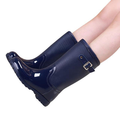 Outlet Appeal blue / 6 HEE GRAND Candy Color Rain Slip On Women Mid-Calf Rainboots Round Toe Rubber XWX3071