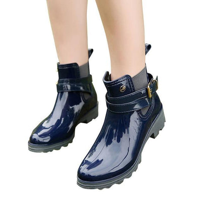 Outlet Appeal blue / 6 HEE GRAND Rain Boots 2017 Women Ankle Boots Casual Rubber Creepers Slip On Flats XWX4505