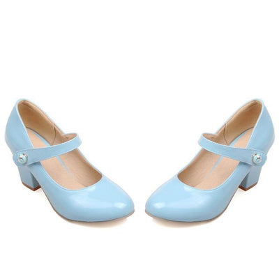 Outlet Appeal Blue / 6 Mary Janes Thick High Heel Round Toe Pumps