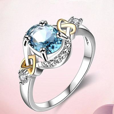 Outlet Appeal Blue / 7 Alloy Engagement Ring with Crystal