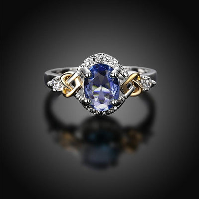 Outlet Appeal Blue / 8 Alloy Engagement Ring with Crystal