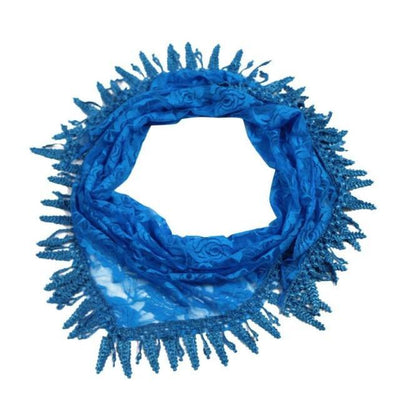 Outlet Appeal Blue / China 135cm-175cm Women Lady Long Lace Rose Flower Triangular Mantilla Scarf Wrap Shawl bandana