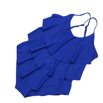 Outlet Appeal Blue / L Vintage Plus Size Ruffled One Piece Monokini Swimsuit - Large-3XL