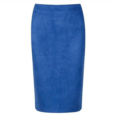 Outlet Appeal Blue / M Women Suede Midi Pencil Skirts Causal High Waist Sexy Stretch Ladies Office Work Wear