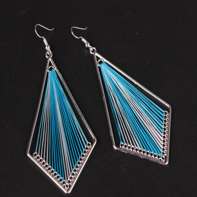 Outlet Appeal Blue / one-size Bohemian Style Wind Handmade Earrings Individuality   Geometric Earrings A