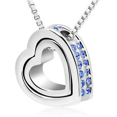 Outlet Appeal Blue / one-size Fashion Double Heart Crystal Rhinestone Eternal Love Silver Necklace PK
