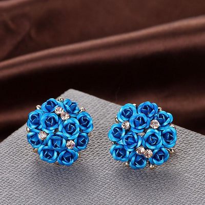 Outlet Appeal Blue / one-size Fashion Jewelry Bohemia Flower Rhinestone  Earrings For Women Summer Style A
