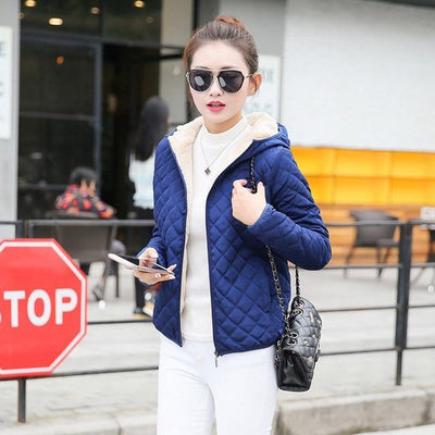 Outlet Appeal Blue / S Autumn 2018 New Parkas basic jackets Female Women Winter plus velvet lamb hooded Coats Cotton Winter Jacket Womens Outwear coat