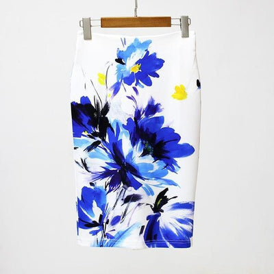 Outlet Appeal Blue / S Slim Stretchy High Waist Floral Back-Split Midi Pencil Skirt