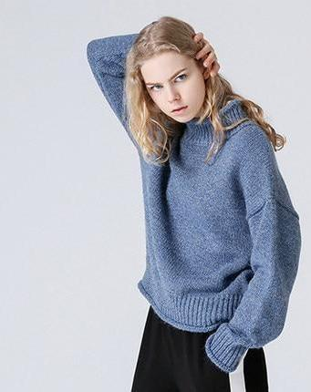 Outlet Appeal blue / S Toyouth Christmas Sweater 2018 Winter Women Jumper Casual Turtleneck Solid Color Long Sleeve Knitted Pullover sueter mujer New