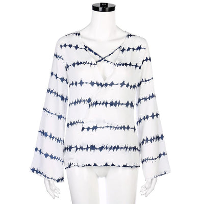 Outlet Appeal Blue / S Women Loose Long Sleeve Shirt Stripe Tops Overlapping Chiffon Casual Blouse