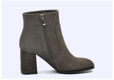 Genuine Suede Square Toe High Heel Ankle Boots