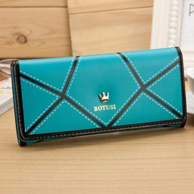 Outlet Appeal Blue Women's Luxury Faux Leather Long Wallet Clutch Purse