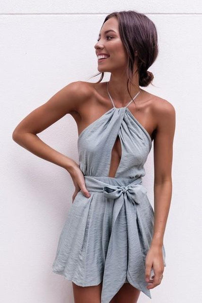 Outlet Appeal Blue / XL Cut Out Halter Boho Sash Tie Playsuit Romper